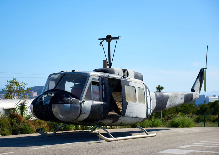 Benidorm, Spain - May 13, 2017: Old american helicopter in the heliport of Benidorm. Costa Blanca. Province of Alicante. Spain Alicante Province Spain Alicante, Spain Benidorm Benidorm Spain Helicopter Old-fashioned SPAIN Air Vehicle Airplane Airport Clear Sky Day Heliport Mode Of Transport No People Old Transport Outdoors Sky Sunny Day Transportation Vintage