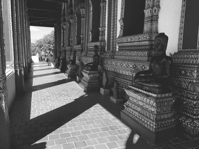 Art Statue Buddhism Light And Shadow Temple Region Black And White Architecture Architectural Column Built Structure History Sunlight Indoors  Religion Ancient Place Of Worship Spirituality Day Shadow No People Building Exterior Ancient Civilization