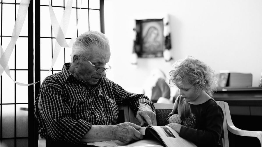 Be. Ready. Old And Young Time To Reflect Time Real People Two People Sitting Togetherness Indoors  Appreciate Life Life Goes Quickly Black And White Friday