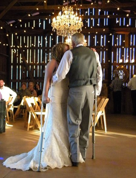 Full Length People Adult Wedding Day Wedding Dance Father Daughter Dance Father Daughter Moments Father Daughter Crutches Dancing With Crutches Slow Dance Uniqueness We Can Do It Yes We Can Daddy's Girl Daddy Daughter Wedding Photography Wedding Reception Wedding Bride Wedding Dress