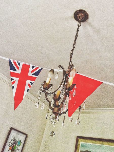 Having a British afternoon... Bunting Union Jack Unionjack Union Flag Flag British English Festive Party High Tea Tea Connecticut Chandelier Ceiling Light Fixture