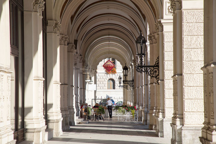 historical arcades in the city of Vienna Architecture In A Row Vienna Arch Archade Architectural Column Building Building Exterior Built Structure Corridor Day Daylight History The Past The Way Forward Wien