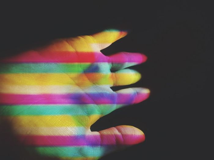 Projected Lights Visual Multi Colored Black Background Yellow Technology Abstract Human Hand Variation Close-up Neon Neon Colored A New Perspective On Life Capture Tomorrow
