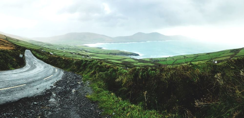 Ballinskelligs Skellig Islands Roadtrip Souvenir Irishlifestyle Irish Landscape Irish Ireland Ballinskelligs Scenics Tranquil Scene Beauty In Nature Nature Sky Tranquility Mountain Landscape Outdoors Winding Road No People Road Grass Green Color Mountain Road EyeEmNewHere