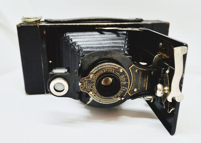 Old-fashioned Single Object Still Life Camera - Photographic Equipment Retro Styled Technology Photography Themes Vintage Black Color No People Close-up Indoors  White Background Antique Camera Brownie Camera EyeEm Best Shots EyeEm Gallery USA Rochester, NY
