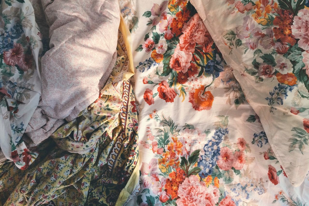 Close-up of unmade bed