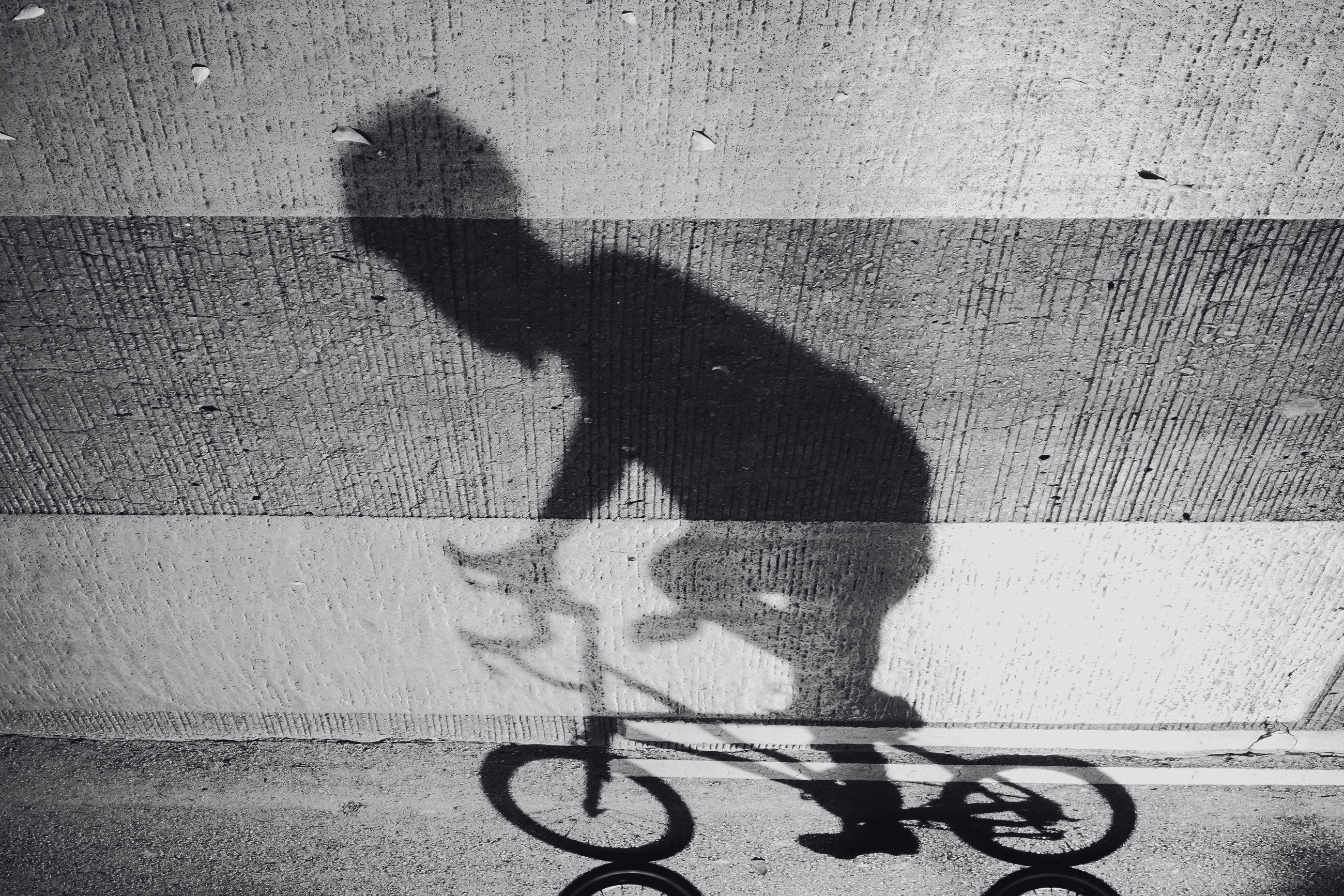 shadow, bicycle, sunlight, transportation, high angle view, real people, city, street, one person, day, low section, lifestyles, nature, focus on shadow, footpath, outdoors, leisure activity, riding, unrecognizable person, flooring, paving stone