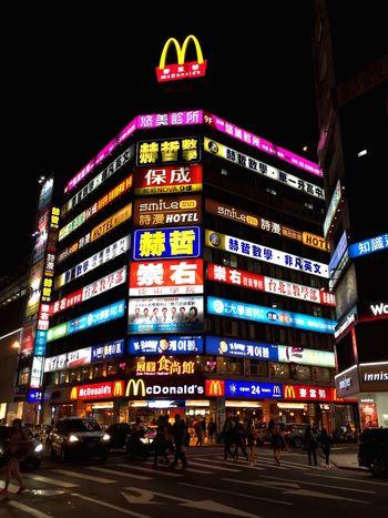 Taipei Building Neon Light Night Cities At Night