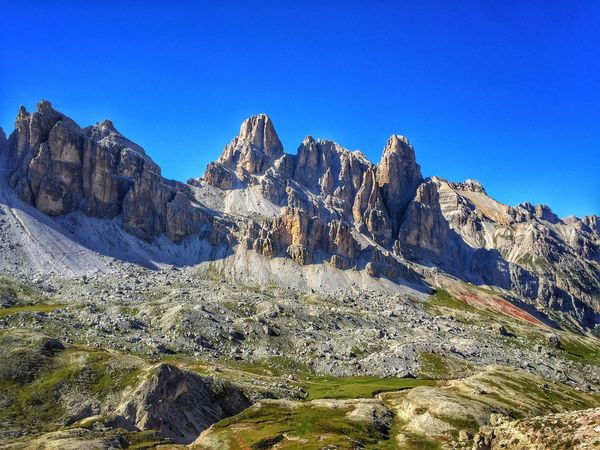 Mountain beauty Scenics Tranquil Scene Blue Clear Sky Mountain Tranquility Beauty In Nature Majestic Physical Geography Non-urban Scene Nature Mountain Range Geology Travel Destinations Tourism Rock Formation Extreme Terrain Day Outdoors Remote alps Dolomites Italy