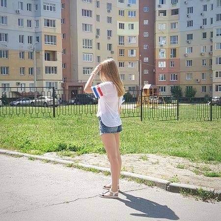 Rear View One Person Full Length Built Structure Building Exterior Day Outdoors Architecture Leisure Activity One Woman Only One Young Woman Only People Only Women Summer Standing Human Body Part Young Adult Ukrainian Girl Women Kharkiv Ukraine Happiness City Real People Young Women