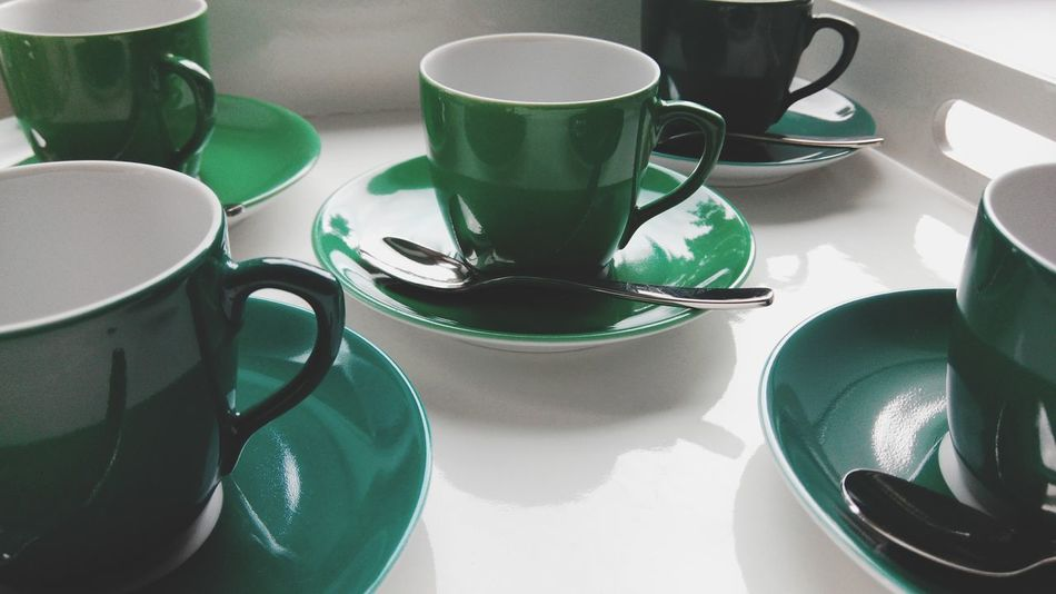 Coffee Cup Spoon Drink Food And Drink Table Coffee - Drink Cup Hot Drink Tea Porcelain  Green Green Cup Coffee Empty Cup Empty Cup Of Tea Cup Of Coffee Cups Large Group Of Objects Arrangement Tea