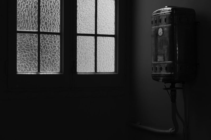 [Cosinon 55mm f/1.2 MC] Bathroom Black And White Boiler BYOPaper! Closed Glass - Material Indoors  Interior Interior Design Interior Style Monochrome Photography My Favorite Place Old Old Technology The Secret Spaces Vintage Vintage Bathroom Vintage Technology Water Heater Window Window Frame