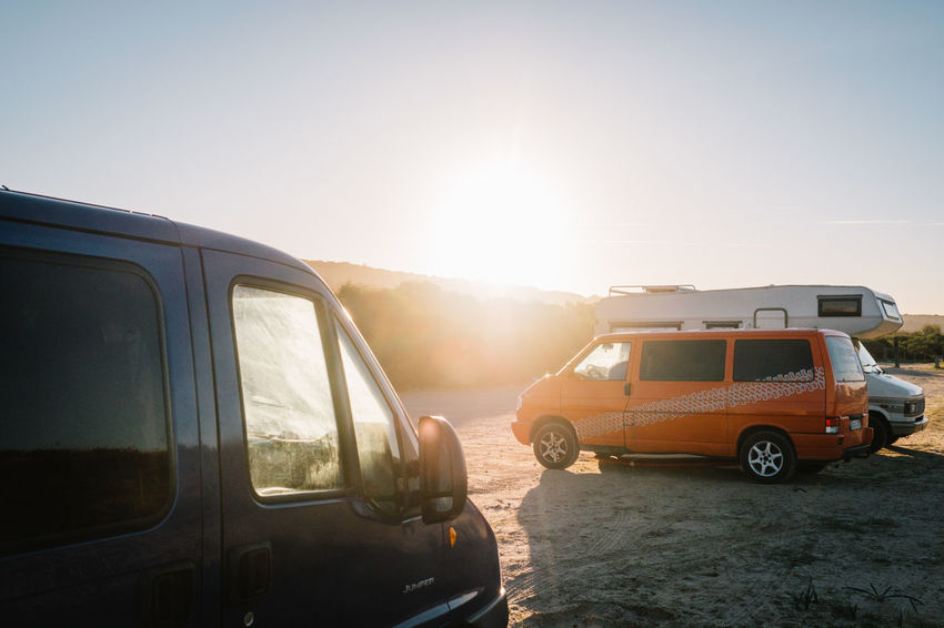 EyeEmNewHere Perspectives On Nature Roadtrippin' Travel Clear Sky Day Lens Flare Nature No People Outdoors Roadtrip Sky Sun Sunbeam Sunlight Sunny Sunset Transportation Van Vanlife