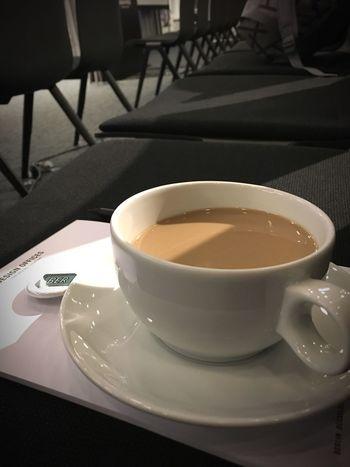 Abwarten & Kaffee trinken Porcelain  White Black Indoors  Chairs Coffee Cup Coffee