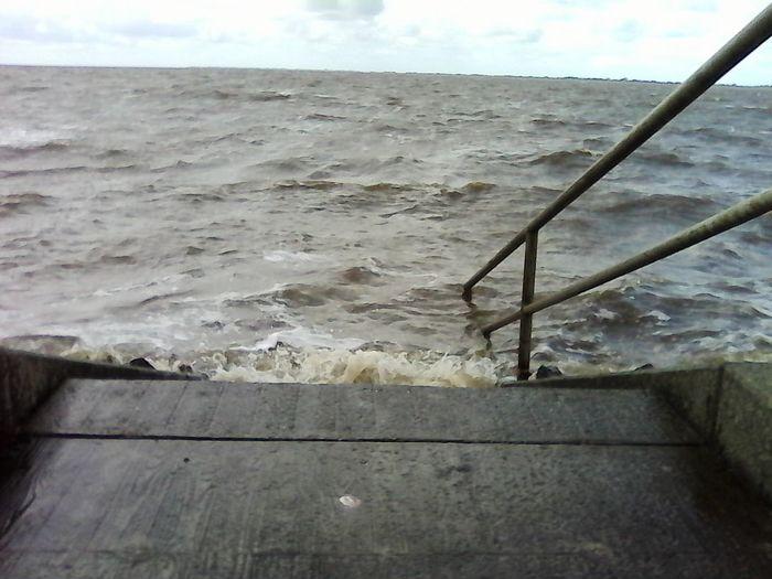 Railing To Bathe Swim Water Sea Sky Stairway