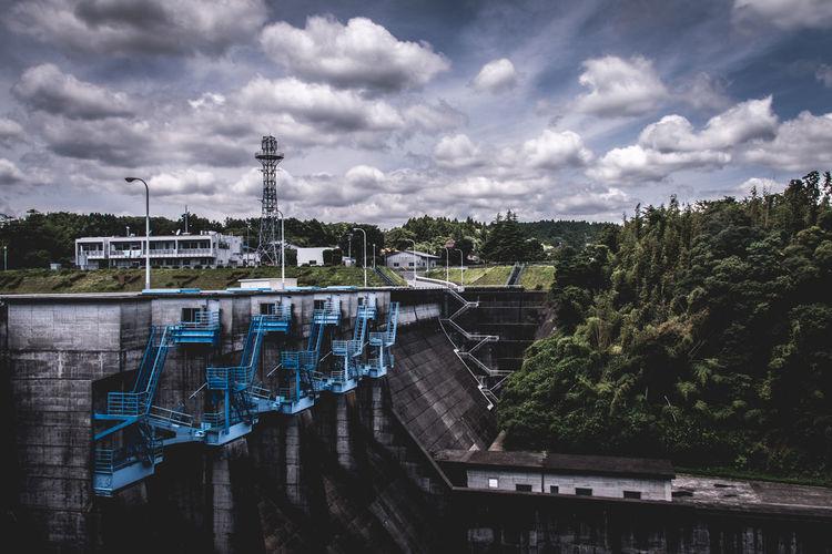 Kameyama Dam Against Cloudy Sky