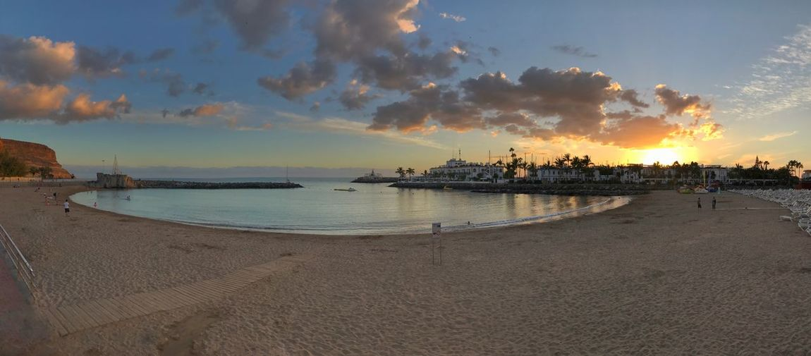 Beach Beauty In Nature Cloud - Sky Day Gran Canaria Horizon Over Water Nature Outdoors Panorama Real People Sand Scenics Sea Shore Sky Sunset Tranquil Scene Tranquility Vacations Water
