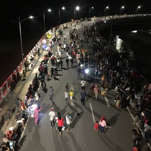 Large Group Of People High Angle View Night Illuminated Real People Crowd Mobility In Mega Cities People Outdoors Women Men Architecture Lifestyles Road Adult
