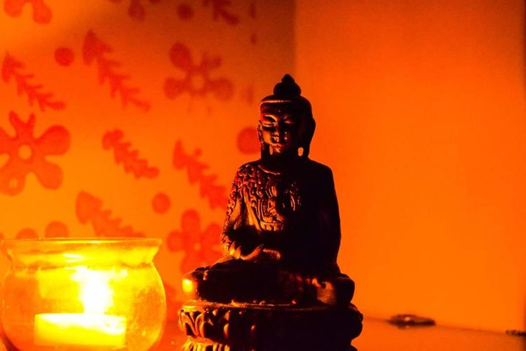 Buddha Statue Light Up Your Life Peace Candle Flame Darkness And Light
