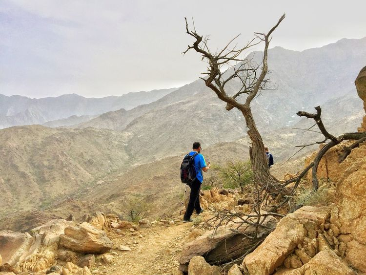 The Following Enjoying Life Taking Photos Saudi Arabia Arabian Hiking Hiking Al Bahah Great Outdoor Landscape While hiking in Al Bahah I was following fellow hiker when I saw the dead tree, immediately grab my phone and took this shot. Feel The Journey Traveling Home For The Holidays Traveling Home For The Holidays