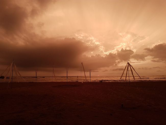 derelict beach party Beach Beachparty Sunset Environment Landscape Travel Dramatic Sky Weather Social Issues Sunset Power In Nature Accidents And Disasters Tranquility Scenics Awe Fog Cloud - Sky Silhouette Travel Destinations Sea No People Vacations Sky
