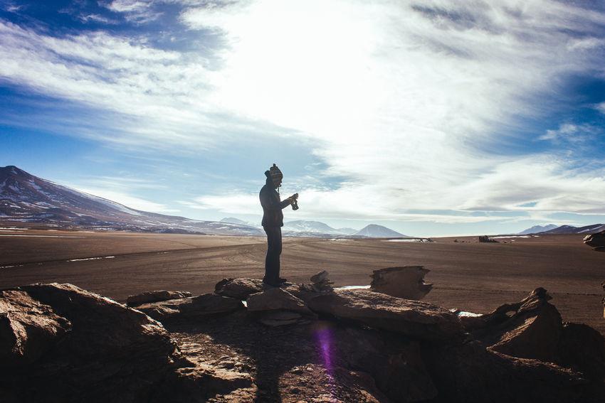 Sioli Desert Arid Climate Bolivia Desert Landsape One Man Only Photographer Siloli Sky And Clouds Tourist Uyuni