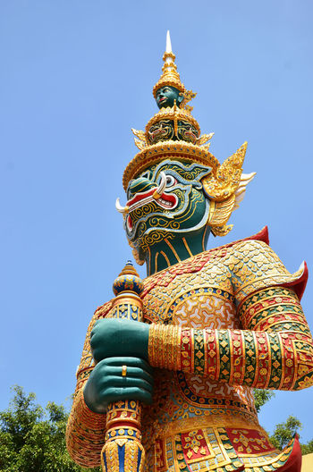 Bangkok Bangkok Thailand. Giant Thailand Architecture Art And Craft Blue Clear Sky Day Giant Thai Gold Colored Low Angle View No People Outdoors Place Of Worship Religion Sculpture Sky Spirituality Statue