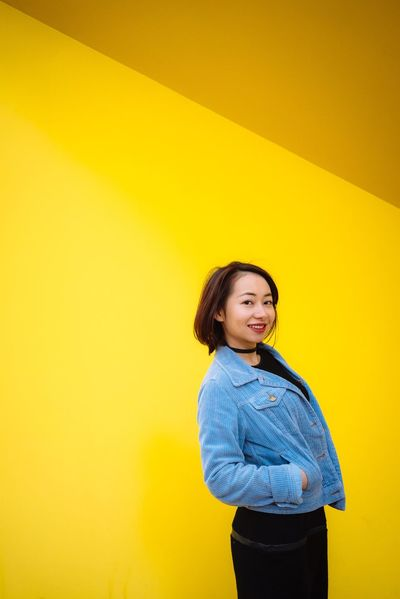 Portrait Of A Woman Portrait Portraiture SonyA7s Sony Australia VSCO MelbournePhotographer Yellow Wall - Building Feature Urbanspace Standing Streets Of Melbourne Casual Clothing
