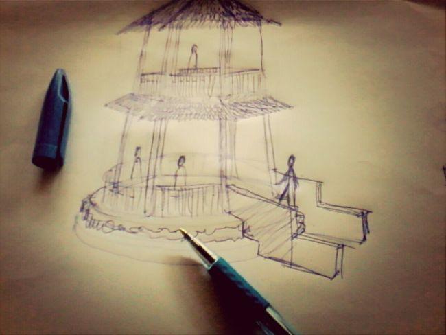 5 minutes's sketch.. Sketching Design Gazeebo Architecture