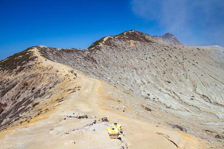 Ijen Crater Landscape Against Sky