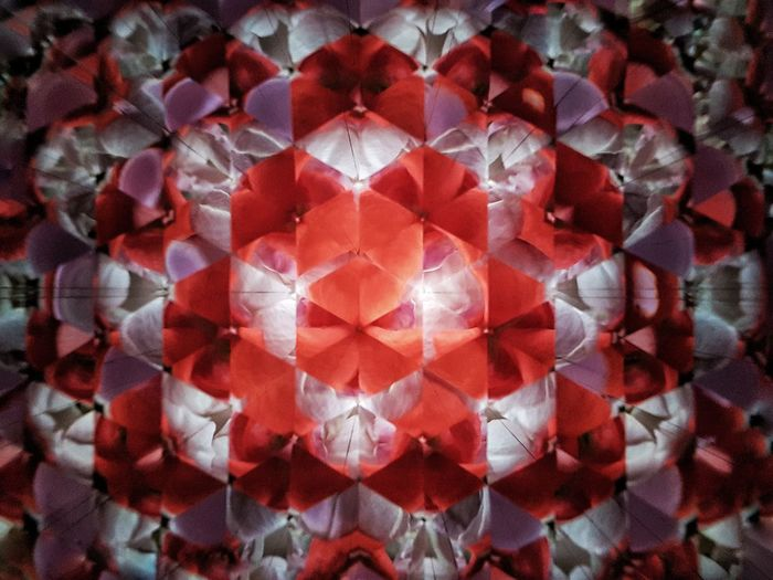 Geometric Shape Textured  Pattern Caleidoscope Kaleidoscope Kaleidoscope Effects Flower Red Backgrounds Full Frame Close-up Flower Head Hexagon Abstract Backgrounds