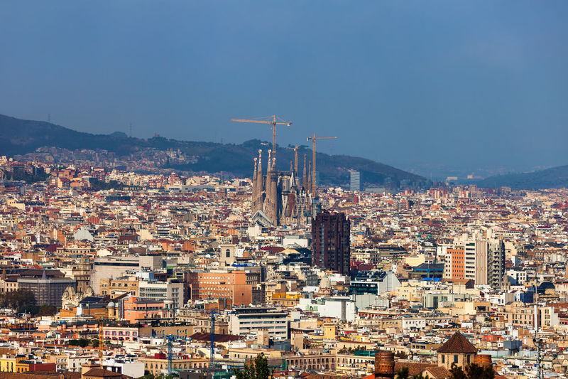 Barcelona city aerial view in Catalonia, Spain Barcelona SPAIN Architecture Building Exterior Built Structure Cityscape Urban Sprawl Building Residential District City TOWNSCAPE Aerial View Catalunya Catalonia Europe