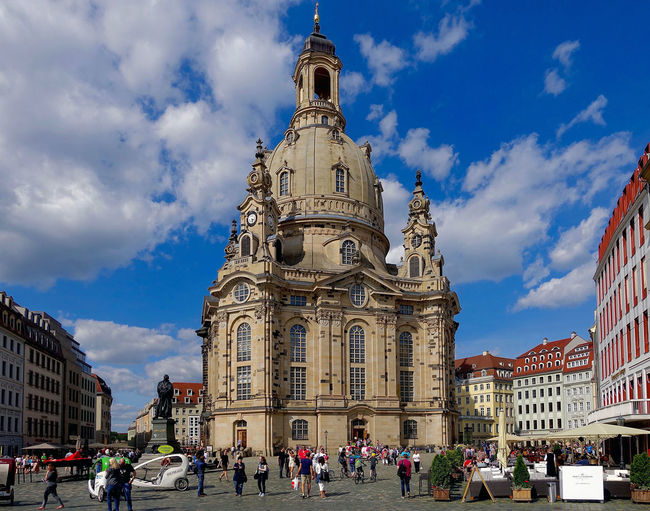 The Frauenkirche in Dresden, Germany. Architecture Building Exterior Built Structure Church Cloud Day Dresden Famous Place Frauenkirche Germany History Large Group Of People Outdoors Sky Tourism Travel Destinations