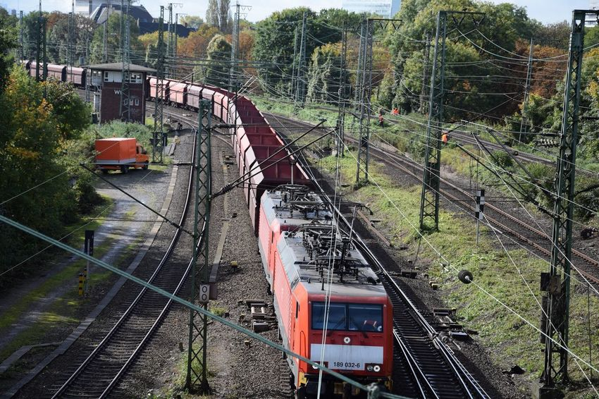 Architecture Bridge - Man Made Structure Built Structure Cable Connection Day High Angle View Locomotive Mode Of Transport Nature No People Outdoors Public Transportation Rail Transportation Railroad Track Railway Track Steam Train Train - Vehicle Transportation Tree