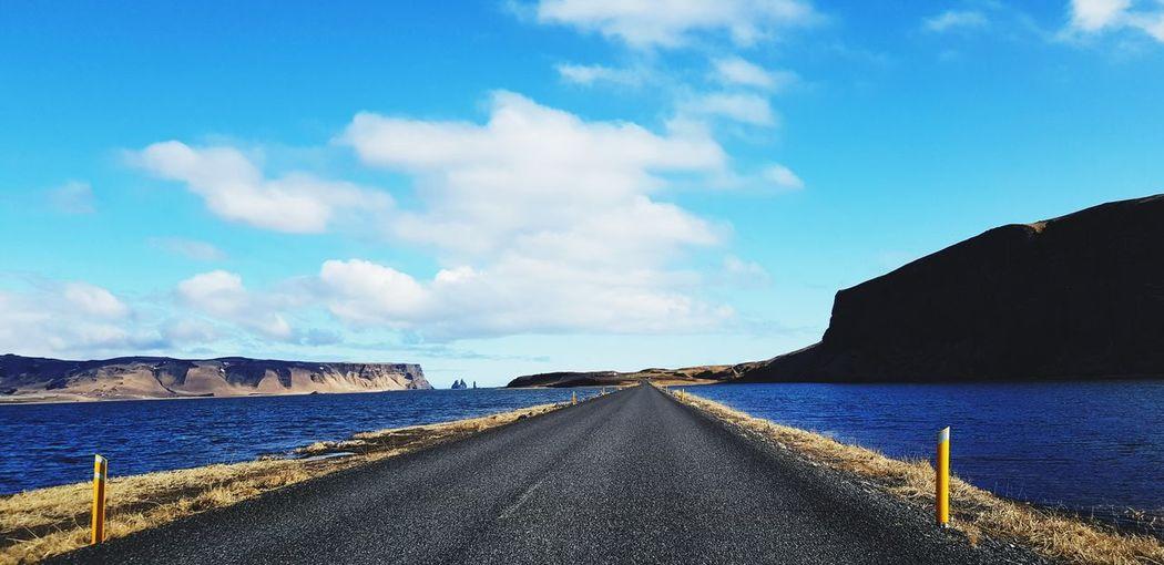 Iceland Sea Beach Road Horizon Over Water Landscape