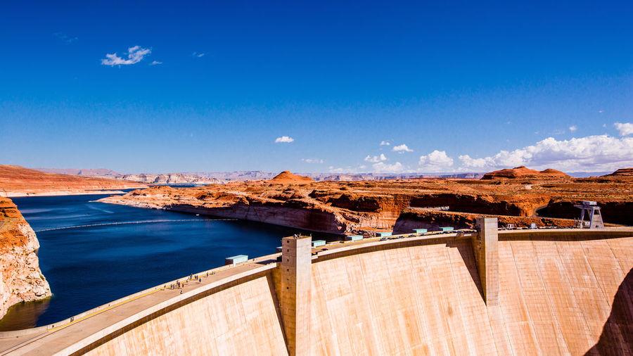 Dam against blue sky
