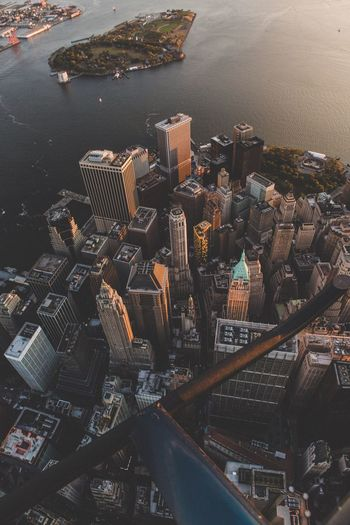 High angle view of cityscape and sea