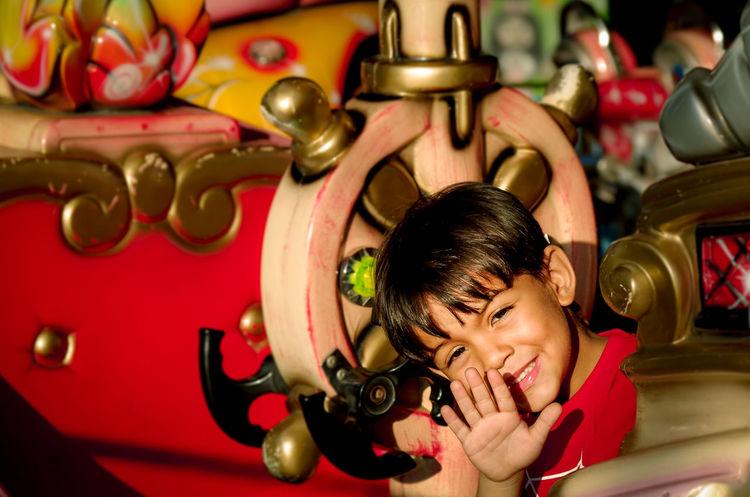 Hi there! Boys Childhood Close-up Enjoyment Headshot Kid Lifestyles Red