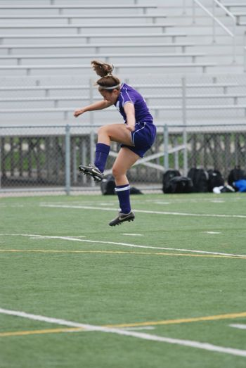 Sports Photography Soccer⚽ Jumping Header Purple Girl High School Sports Off The Ground
