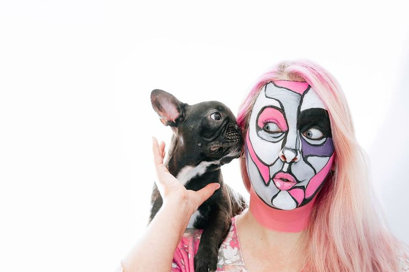 French Bulldog Frenchie Togetherness Bonding Purebred Dog Frenchbulldog Puppy Domestic Animals One Animal One Person One Woman Only Woman Pink Pink Color Face Painting Pet Face Painted Disguise White Background Portrait Women Headshot Face Paint Humor Mask - Disguise Body Paint Pets Dog Stage Make-up Canine #NotYourCliche Love Letter