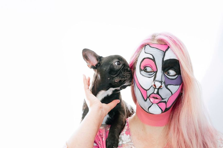 French Bulldog Frenchie Togetherness Bonding Purebred Dog Frenchbulldog Puppy Domestic Animals One Animal One Person One Woman Only Woman Pink Pink Color Face Painting Pet Face Painted Disguise White Background Portrait Women Headshot Face Paint Humor Mask - Disguise Body Paint Pets Dog Stage Make-up Canine