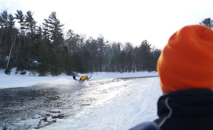 Snow Sports Snow Winter Cold Temperature Getoutside Extreme Braaap Skidoo Water Crossing Snowmobile Nature Adventure Canada Georgian Bay Only Men Sports Race Winter Outdoors Sky People Motion