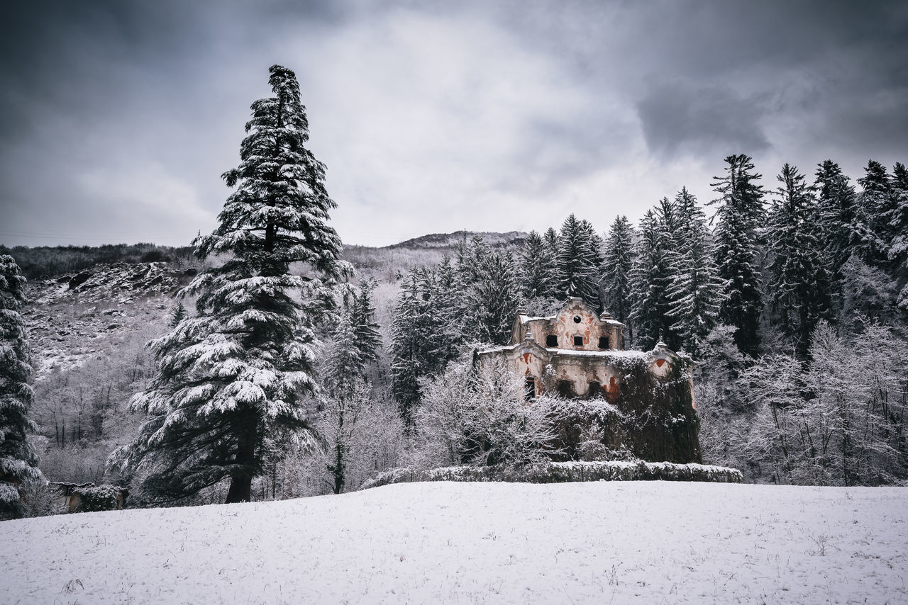 snow, cold temperature, winter, nature, tree, weather, built structure, no people, scenics, outdoors, tranquility, sky, beauty in nature, architecture, building exterior, cloud - sky, day, mountain, landscape
