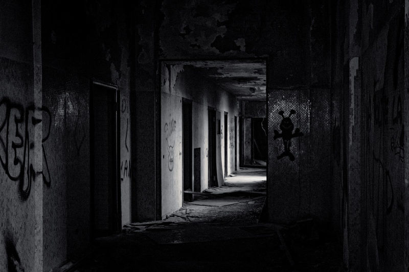 Mental Hospital  Architecture Built Structure One Person Building Real People Abandoned Lifestyles Full Length Building Exterior Old Standing Run-down Graffiti Men Obsolete Direction Wall - Building Feature Leisure Activity Outdoors Dark Deterioration