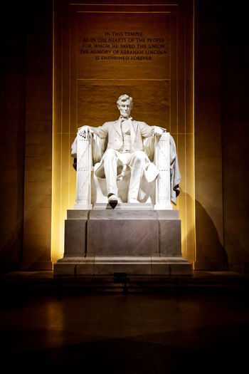 Lincoln Memorial at night, Nikon D810, 1/30s f/4.0, 800 ISO, at 48mm. Nikon 24-120mm f4 lens. No flash. 16th President Abraham Lincoln Statue Lincoln Lincoln Memorial Nikon D810 Washington, D. C. Abraham Lincoln Influential Leader No People Powerful Image Sculptures Us Presidents