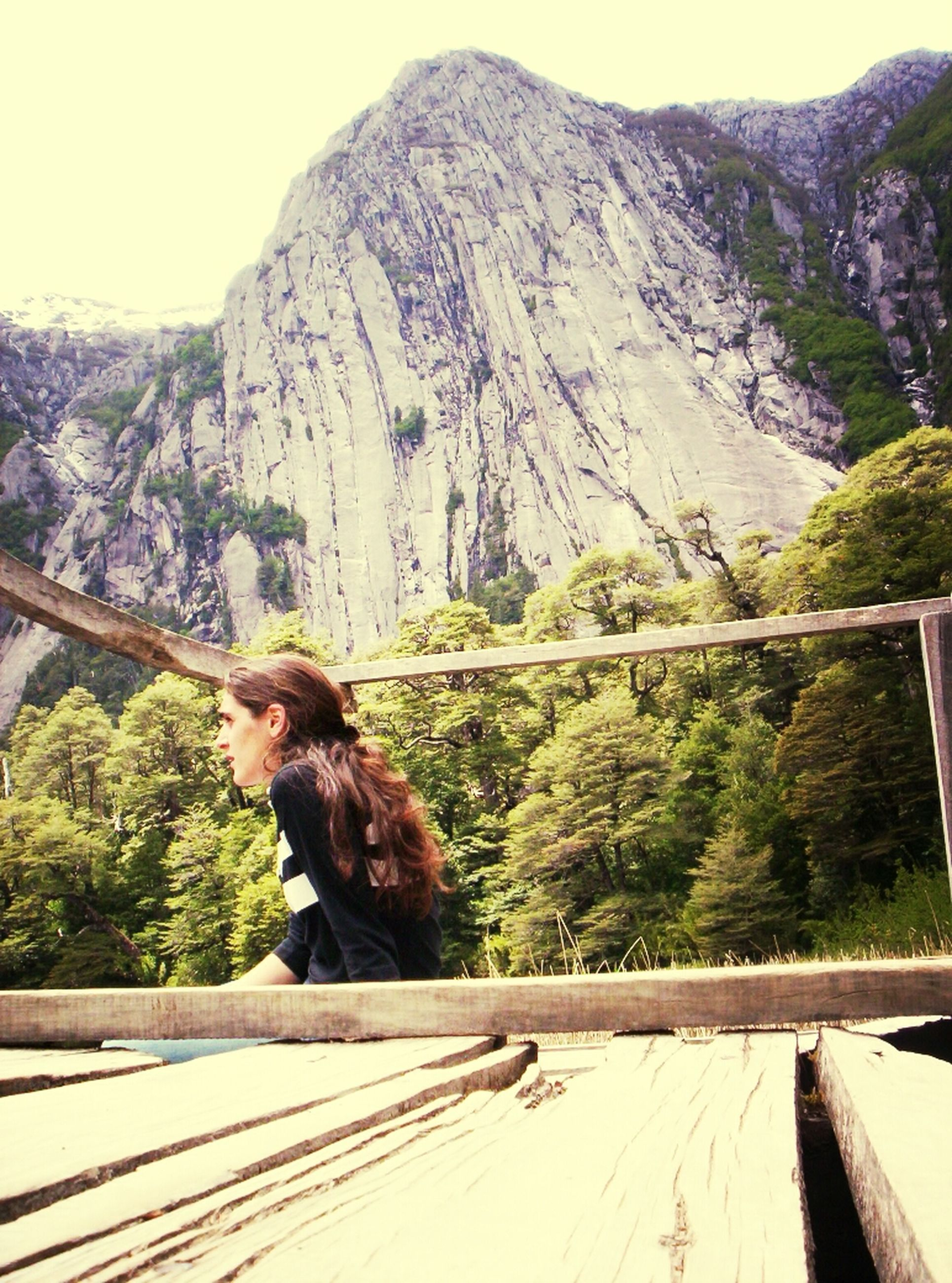 mountain, mountain range, railing, rear view, animal themes, nature, one animal, tranquil scene, scenics, tranquility, water, beauty in nature, one person, clear sky, landscape, lake, sitting, day, tree, non-urban scene