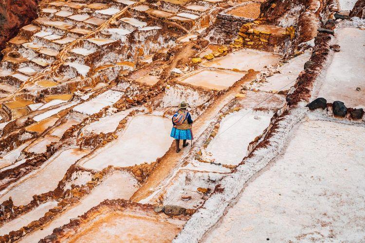 High angle view of woman walking at salt basin