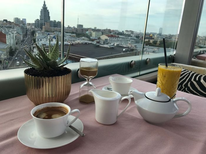 Moscow Summer 2018 Summer Vibes Summer Exploratorium Summer Views Summertime Drinks Tea Tea Cup Teapot Moscow Meeting Friends Panorama Panoramic Citylife City View  City Life Smoothie Chilling Food And Drink Drink Refreshment Cup Table Mug Coffee Cup City Coffee Coffee - Drink Glass Spoon Freshness