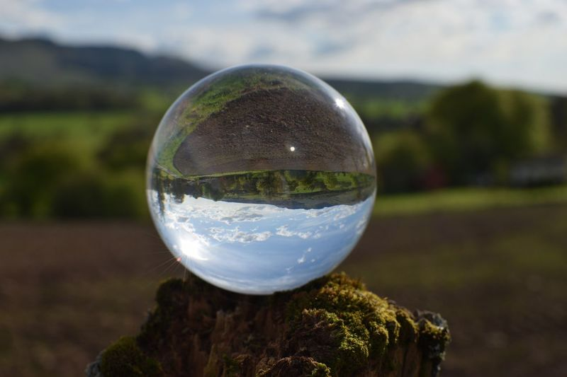 Farmed Land Agriculture Field Farm Sphere Nature Reflection Focus On Foreground Crystal Ball Glass - Material Transparent Day Ball Close-up Sky Outdoors No People Cloud - Sky Landscape Scenics - Nature Land Tree Upside Down