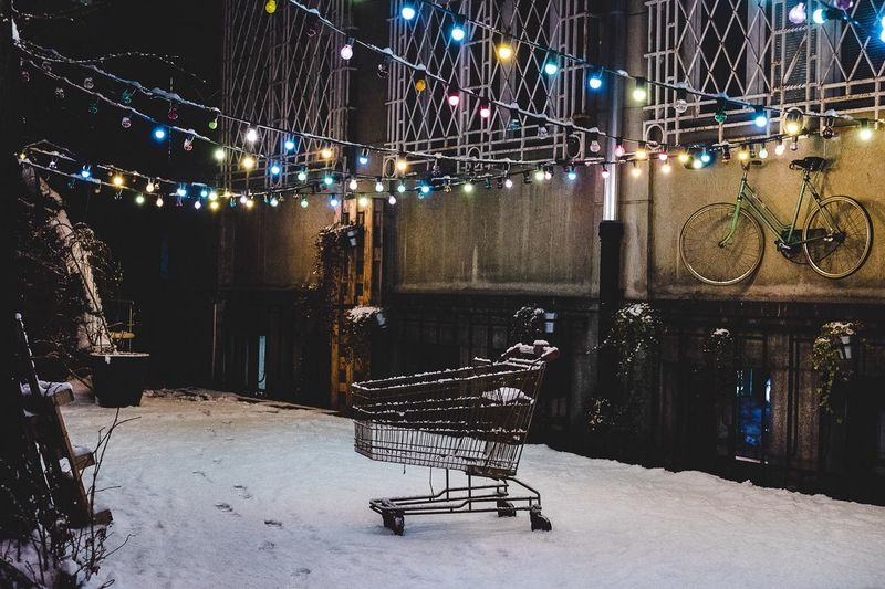 Winter Party Night Illuminated Outdoors City Snow Winter Architecture Cold Temperature 35mm Overcast Contemplation Vibrant Color Streetphotography Photography Colors
